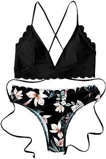 riou Bikini, Bikinis Mujer 2020 Push Up Halter Bikini Traje de baño Acolchado Bra Tops y Braguitas Traje de Baño de Dos Piezas Talla Grande Bañador Opa de Playa vikinis riou