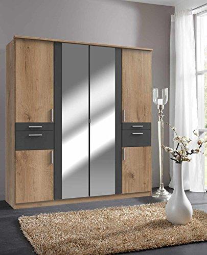lifestyle4living Kleiderschrank, Planken-Eiche, Graphit-Grau, 180 cm   Drehtürenschrank mit 6 Türen, 4 Schubladen, 3 Kleiderstangen, 3 Einlegeböden im modernen Stil