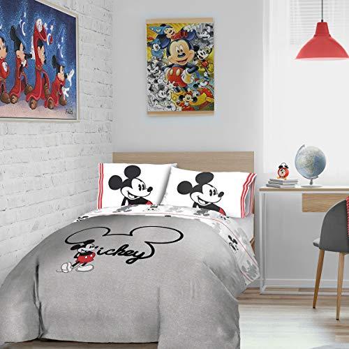 Disney - Juego de Funda nórdica y Funda de Almohada (algodón), Color Gris
