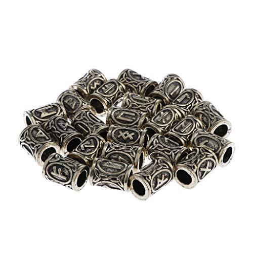 P Prettyia 24 Stück Nordische Rune Perlen Haarperlen, Haar Bart Wikinger Antikperlen für Flechten Armband Halskette DIY - Bronze