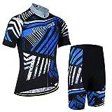 X-Labor - Juego de maillot de ciclismo para hombre, talla grande, manga corta y pantalón con acolchado 3D, color azul, XL