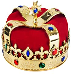 A Truly Royal Accessory , Great to Match Most King's Costumes or Use it As a Paty Hat Very Comfortable One Size Fitst Most Crown With Beautiful Colorful Jewels, Jewels provide Regal accents You'll feel like king for a day in this Majestic Crown Great...