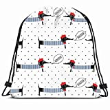 DHNKW Drawstring Backpack String Bag 14X16 Navy Pattern French Dogs Saying Bonjour Hat Animals Wildlife Dachshund Beauty Boy Baby France Sailor Awesome Sport Gym Sackpack Hiking Yoga Travel Beach