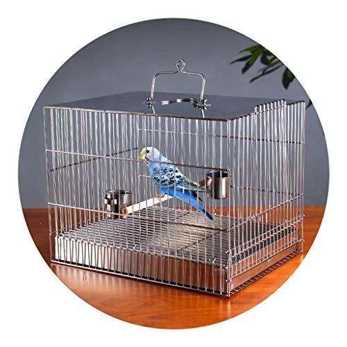 Perreras Jaula De Pájaros Cuadrada De Acero Inoxidable Jaula De Baño Cuadrada De Loro Tordo Jaula De Pájaros Grande Jaula De Alambre Cifrada (Color : Silver, Size : 36 * 27 * 27cm)