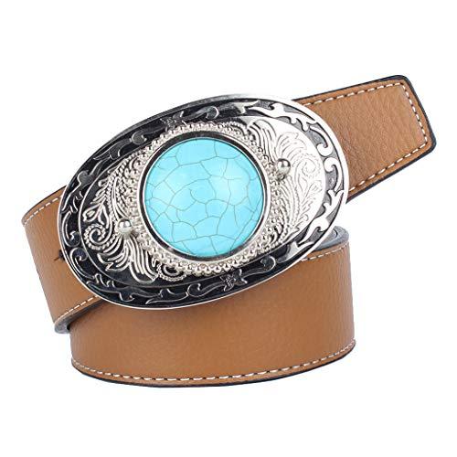 Hellery Cinturón de Cuero Artificial Correa de Cintura con Hebilla de Piedra de Turquesa Estilo Nativo Americano para Hombres Casuales - marrón, 120cm