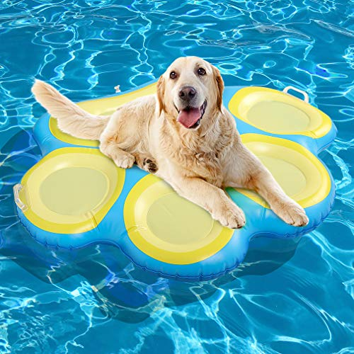 Paw Dog Pool Float Inflatable Raft, Large Ride-ons with Handle for Pets Summer Swimming Pool & Lake
