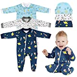 Lictin Baby Boys' One-Piece Footies Blanket Sleepers & Baby Caps 3 Pairs for Infants 0-3 Months- Baby Footed Pajamas of 100% Soft Alien&Submarine Design White/Blue/Navy