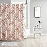 Intelligent Design Polyester Tufted Diamond Ruffle Shower Curtain ID70-1784