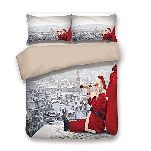 Juego de funda nórdica, Navidad, Papá Noel sentado en el techo, mirando a través de los prismáticos, paisaje urbano nublado, rojo gris claro, juego de cama decorativo de 3 piezas por 2 fundas de almoh