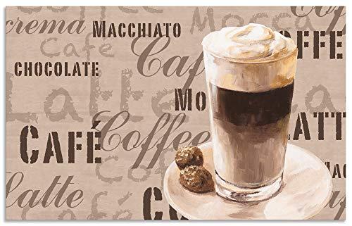 Artland Spritzschutz Küche aus Alu für Herd Spüle 80x50 cm Küchenrückwand mit Motiv Spruch Getränke Kaffee Creme Kaffee Latte Macchiato S7LV
