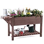 """Raised Garden Bed, Elevated Plant Boxes Outdoor Large with Grow Grid - with Large Storage Shelf 52.7"""" x 22"""" x 30"""" 8 ★ Upgrade with EXTRA side workstation and large bottom storage layer provides a spacious and convenient place to work & store. ★ Easy Growing Up To 8 different herbs/flowers/vegetable with grow grid. The dividers can be easy remove so it's one BIG OPEN PLANTER. ★ FREE INNER LINING are include to separate wood and soil. Spacious raised planter to ensure your plants and vegetables can breathe and grow healthy."""