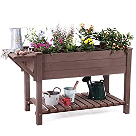 "Raised Garden Bed, Elevated Plant Boxes Outdoor Large with Grow Grid - with Large Storage Shelf 52.7"" x 22"" x 30"" 2 ★ Upgrade with EXTRA side workstation and large bottom storage layer provides a spacious and convenient place to work & store. ★ Easy Growing Up To 8 different herbs/flowers/vegetable with grow grid. The dividers can be easy remove so it's one BIG OPEN PLANTER. ★ FREE INNER LINING are include to separate wood and soil. Spacious raised planter to ensure your plants and vegetables can breathe and grow healthy."