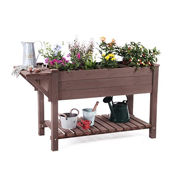 """Raised Garden Bed, Elevated Plant Boxes Outdoor Large with Grow Grid - with Large Storage Shelf 52.7"""" x 22"""" x 30"""" 1 ★ Upgrade with EXTRA side workstation and large bottom storage layer provides a spacious and convenient place to work & store. ★ Easy Growing Up To 8 different herbs/flowers/vegetable with grow grid. The dividers can be easy remove so it's one BIG OPEN PLANTER. ★ FREE INNER LINING are include to separate wood and soil. Spacious raised planter to ensure your plants and vegetables can breathe and grow healthy."""