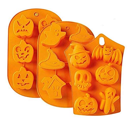 (Conjunto de 3) Molde de Silicona DIY de 6 cavidades para jabón, Chocolate, Pastel, Pan, Galletas, Festival de Fantasmas de Halloween, Calabaza de muñeca, Molde para Hornear Calaveras