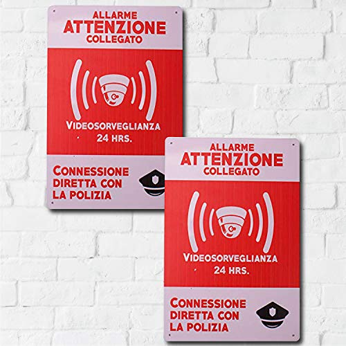 MARQUISE & LOREAN, Cartello Videosorveglianza Allarme di Sicurezza Targa Di Avviso Di Sicurezza In Italiano