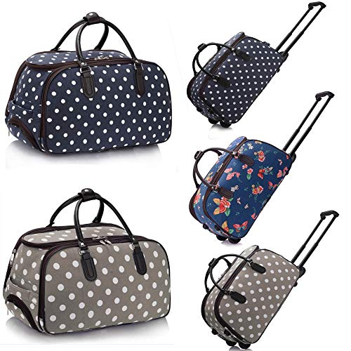 Holdall Travel Trolley Ladies Luggage Bag with Wheels + Hide-Away Handle - Lightweight Outdoor Baggage Suitcase (Butterfly Print - Navy)