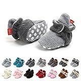 EDOTON Unisex Neugeborenes Schneestiefel Weiche Sohlen Streifen Bootie Kleinkind Stiefel Niedlich Stiefel Socke Einstellbar (0-6 Monate, L/N Grau)