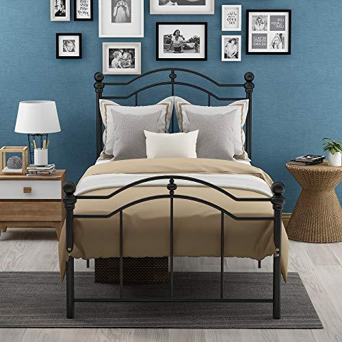 Joycelzen - Estructura de cama de metal negro de 3 pies con 2 cabeceros y gran espacio de almacenamiento para niños, adolescentes y adultos.