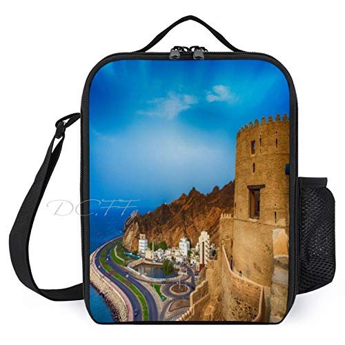 Lunch Box for Kids Lunch Bags with Bottle Holder for Women Men Amazing Gulf of Oman Landscape Fashion Insulated Lunchbox Large Reusable Meal Prep Bag for Work School Picnic
