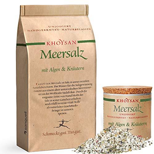 Sanquell GmbH Khoysan-Meersalz | Algen & Kräuter | handgeschöpft | naturbelassen | eines der besten Salze der Welt | 1kg Nachfüllbeutel | 200g Deko-Box (gefüllt)