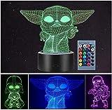 LOYALSE 3 modelo 3D Illusion Star Wars - Luz nocturna para niños, 16 colores cambiantes para decoración de lámpara – Star Wars juguetes y regalos para bebé Yoda / Darth Vader / Stormtrooper