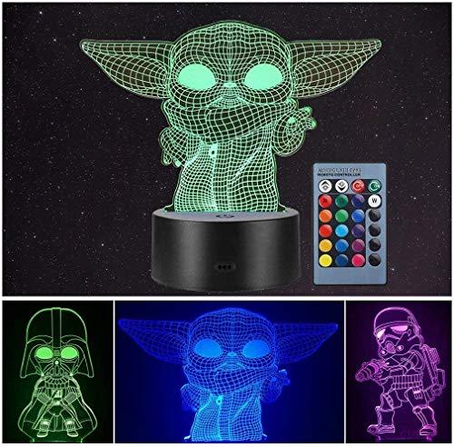 LOYALSE 3 Modell 3D Illusion Star Wars Nachtlicht für Kinder, 16 wechselnde Farben, Dekoration Lampe – Star Wars Spielzeug und Geschenke Baby Yoda / Darth Vader / Stormtrooper