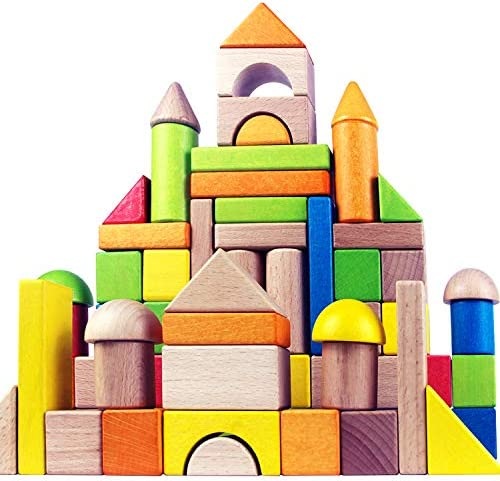 Wooden Building Blocks Set for Kids Rainbow Stacker Stacking Game Construction Toys Set Preschool product image