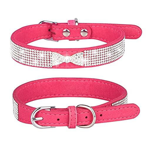 Poseca Collar de Perro de Diamantes de imitación, Cuero de Gamuza Suave Perro Gato Collar de Diamantes de imitación Collar de Diamantes de imitación de Cristal para Mascotas Gato Perro Perrito