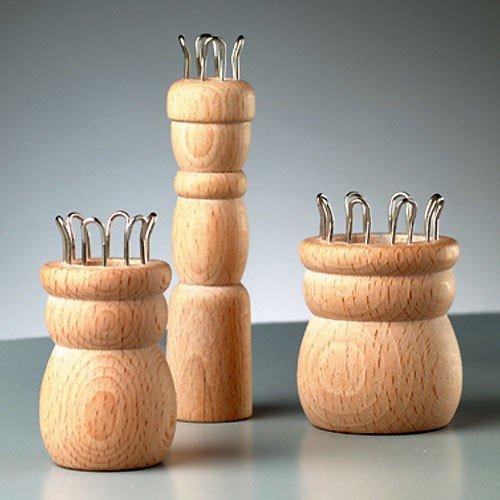 Gebreide tegel 6 haken, Ø gat 15mm, 34x50mm, natuurlijk hout ruw - 1 stuk