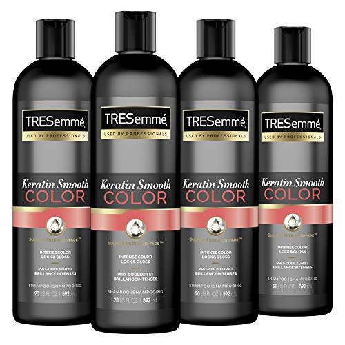 TRESemmé Colored Hair Keratin Smooth Color Shampoo for Color Lock and Gloss, 20 Oz, 4 Count