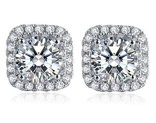 Moissanite Stud Earrings, 2ct DF Color Ideal Cut Lab Created Diamond 18K...