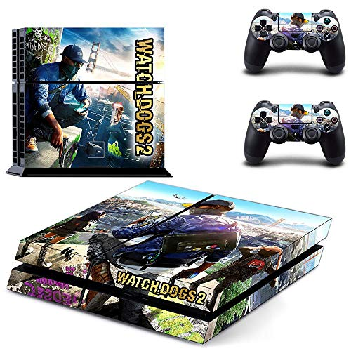 TAOSENG Watch Dogs Ps4 Stickers Playstation 4 Skin Sticker Game Decalcomanie per Playstation 4 Ps4 Console e Controller Skins Vinile