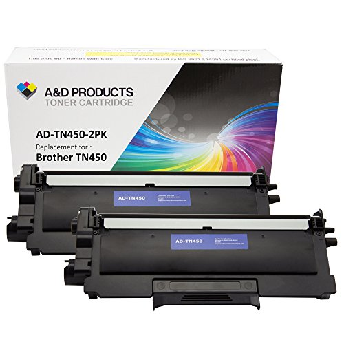 2-Pack A&D Products Compatible Toner Cartridge Replacement for Brother TN450 TN420 High Yield Black for use with Brother HL-2220, HL-2230, HL-2240, HL-2240D, HL-2270DW, HL-2275DW, HL-2280DW, MFC-7240, MFC-7360N, MFC-7365DN, MFC-7460DN, MFC-7860DW, DCP-7060D, DCP-7065DN, IntelliFax-2840, IntelliFAX-2940 Printers