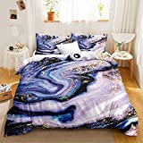 Bedbay Marble Twin Bedding Set Abstract Duvet Cover Set Marble Texture Abstract Art 2 Pieces Quilt Cover Twin Set for Boys Girls 1 Duvet Cover 1 Pillowcases (Purple Gold, Twin)