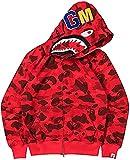 EMLAI Mujer Sudadera con Capucha Tiburón Bape Estampado 3D Hoodie con Bolsillo Chaqueta Camuflaje Bape con Cremallera Halloween (L, Camouflage Rojo)