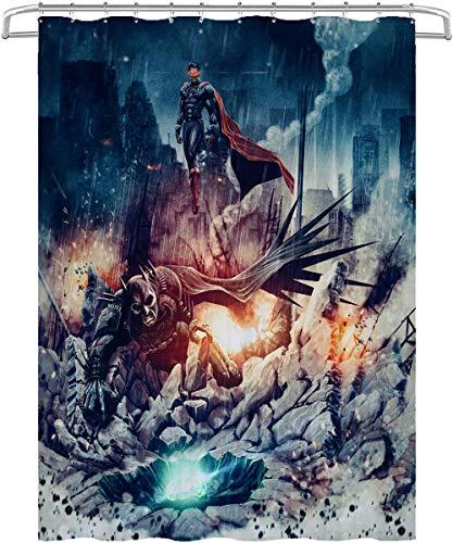 Visionpz Duschvorhang Batman and Superman: Justice Dawn Contest Anti-Mehltau Wasserdichter waschbarer gewichteter Saum, antibakterieller Duschvorhang aus Polyester, Badvorhang mit 12 Ringen 150x180cm