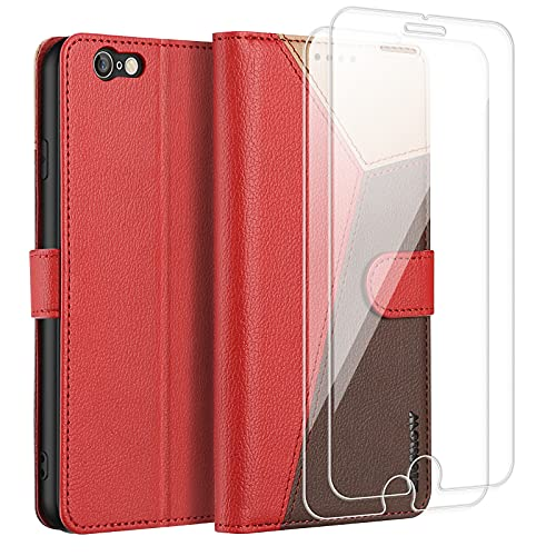 ELESNOW Funda para iPhone 6 / iPhone 6s - 4.7', Carcasa Magnética Tarjetero Tapa de Cuero para Apple iPhone 6 / 6s (Rojo/Marrón/Caqui)