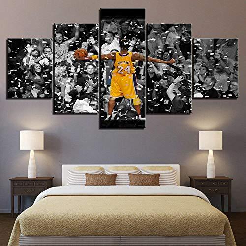 Cuadro en Lienzo Kobe Bryant Mamba Negra NBA Estrella Moderno Impresión de 5 Piezas Impresión Artística Imagen Gráfica Decoracion de Pared - Enmarcado