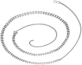 SULTAN Accessories White Non Precious Metal 2 Line Belly Chain, Kamarband for Women (38-Inch)