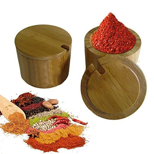 Dyyicun12 Spice Jar, Bamboe Spice Zout Pot Potje Stofdichte Kruidenpot Cruet Kan met Swivel Cover