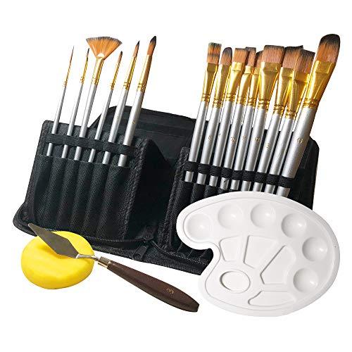 Daymi Pinselset Acrylfarben,Pinselset 18 Stück mit Tragbarer Handtasche,Malmesser und Schwamm,Malscheibe,für Acryl,Öl,Aquarell,Pinsel-Set