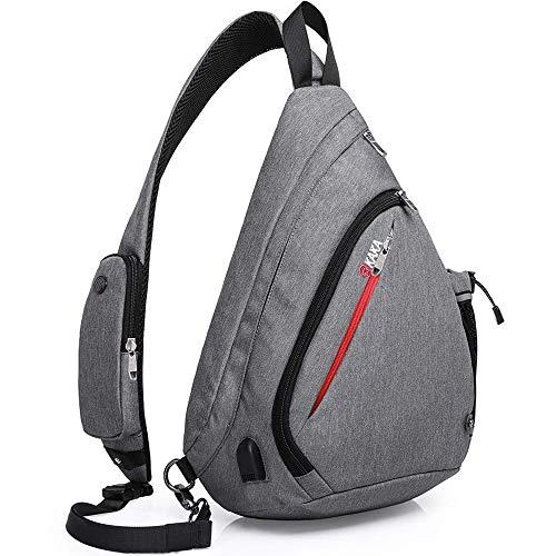 KAKA Sling Bag, Crossbody Shoulder Sling Backpack with USB Charging port, Casual Travel/Outdoor/Urban Daypacks for men & women