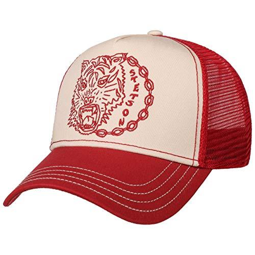Stetson Wolf Trucker Cap Truckercap Meshcap Basecap Baseballcap Damen/Herren - Snapback, mit Schirm, Schirm Frühling-Sommer Herbst-Winter - One Size rot