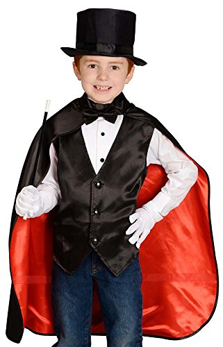 """Aeromax Jr. Magician with Cape, Vest, Hat, Gloves, Bowtie and Wand Black/Red, 35-50"""" in height"""