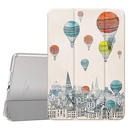 Dadanism Hülle Kompatibel mit Neu iPad 10.2 2019 (7. Generation, 10.2 Zoll) Tablet, Ultra Leichtgewicht Dünne Transluzente weiche TPU Rückseite Smart Schutzhülle, Auto Schlaf/Wach - Ballon der Stadt