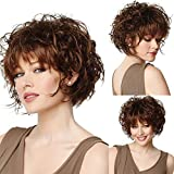 Naseily Short Brown Curly Wigs With Bangs Natural Short Synthetic Wigs for Black