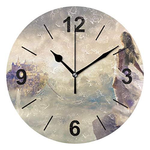 TABUE Reloj de Pared silencioso Estampado Redondo fantasía Hermoso Amanecer Amanecer Cielo Nube Mujeres 9.8 Pulgadas / 25 cm