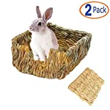 Tfwadmx Rabbit Grass Bed, Natural Straw Woven Grass Bed Bunny Hay Mat for Rabbit Hamster Gerbil Chinchilla...