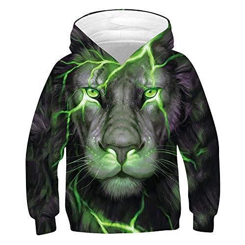 chicolife 9-10 Jahre Coole Hoodies für Jungen Mädchen 3D Hoody Pullover Green Lion Face Lässige Hooded Kinder Jumpers Sweatshirts für den Urlaub