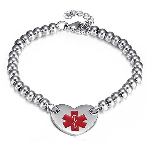 LF Edelstahl Ice SOS angepasst personalisierte medizinische Alarm Herz Charm Link Armband Perlen Kette Medical Alert Armband Überwachung für Männer Frauen,kostenlose Gravur